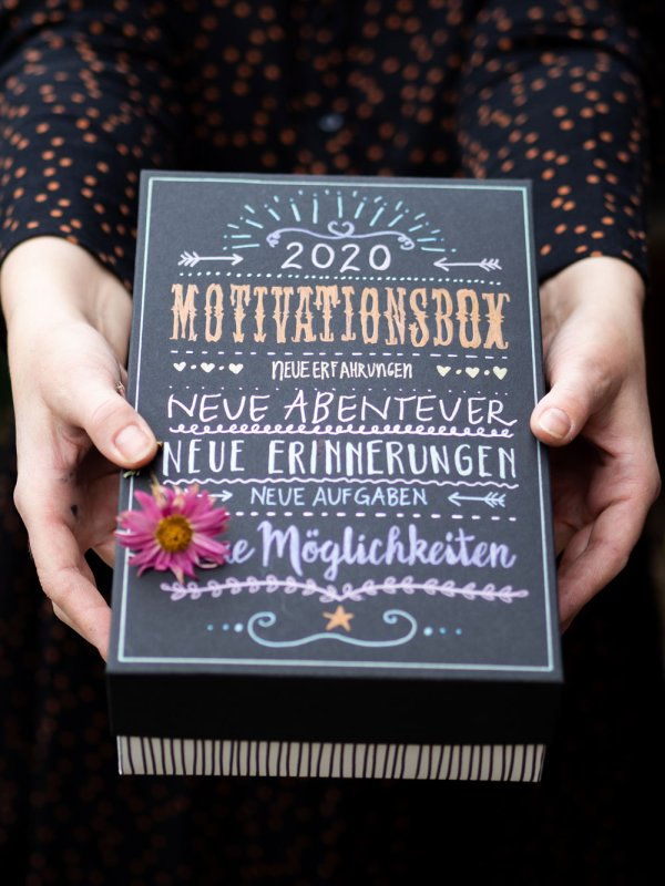 Motivationsbox, gute Vorsätze, Neujahrsvorsätze, Motivation, Handlettering, Johanna Rundel