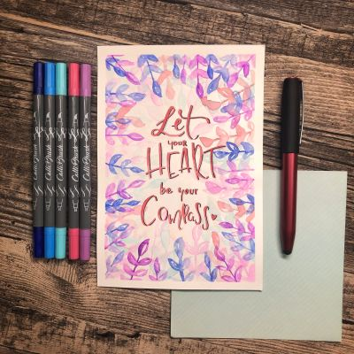 Happy Painting, Clarissa Hagenmeyer, malen, zeichnen, Kunst, kreativ, Malschule, Anleitung, Aquarell, Wasserfarben, bunt, Farben, Online, Let your heart be your compass, Calli.Brush Pens, Handlettering